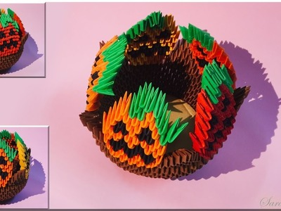 How to make 3d Origami Bowl halloween 2