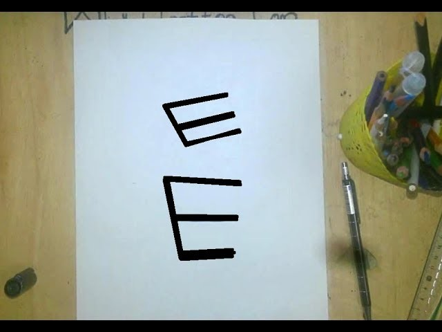How To Turn Letter E Into a 3D ROBOT Cartoon For Kids I Drawing Doodle Art On Paper For Kids