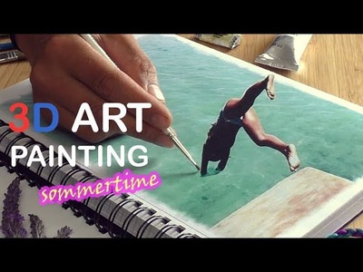 Hyperrealistic 3D Art Painting (Speed Drawing) HELLO SUMMER