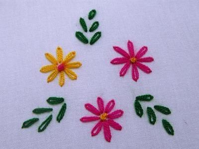 Lazy Daisy Stitch | How to Sew Lazy Daisy Flower Stitch | Hand Embroidery