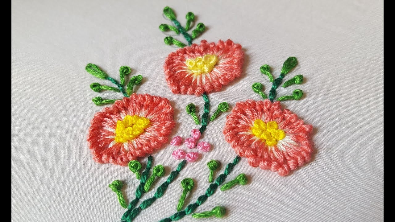Long french Knot flower stitch for beginners|hand embroidery
