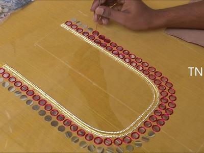 Maggam work blouse designs easy | hand embroidery tutorial for beginners | hand embroidery designs