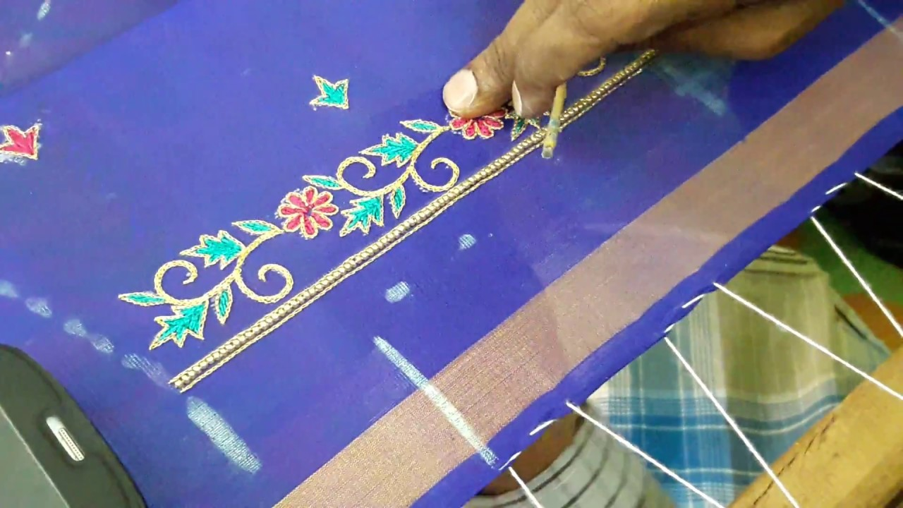 Making Of Simple Thread Work Hand Embroidery Design Blouse Making