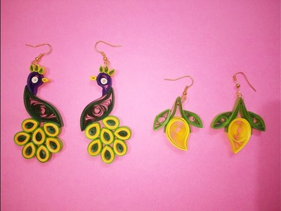 Qulling paper Earrings || Beautiful Earrings peacock || Mango Earrings design
