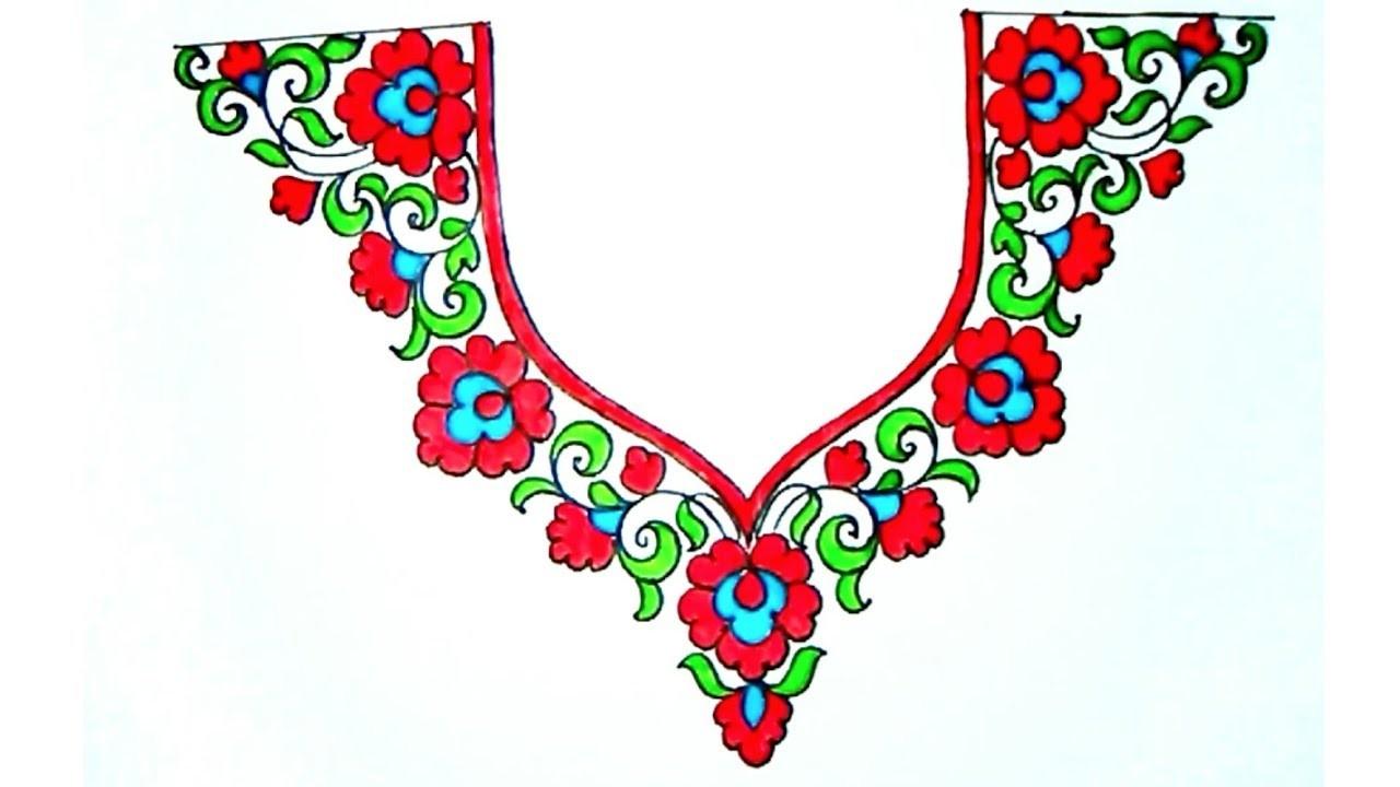 Salwar kameez neck designs draw for hand embroidery gala