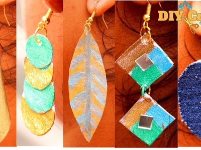 Simple 5 Types of Canvas Paper Earrings | Just 2 Items Need | DIYCrafts India #45