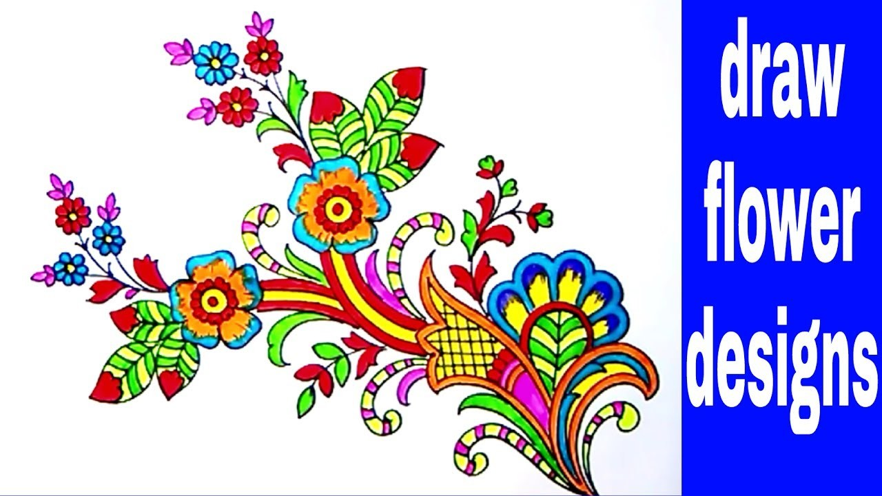 Simple flowers designs sketch for hand embroidery saree