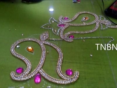 Simple maggam work blouse designs | basic embroidery designs by hand | hand embroidery mirror work