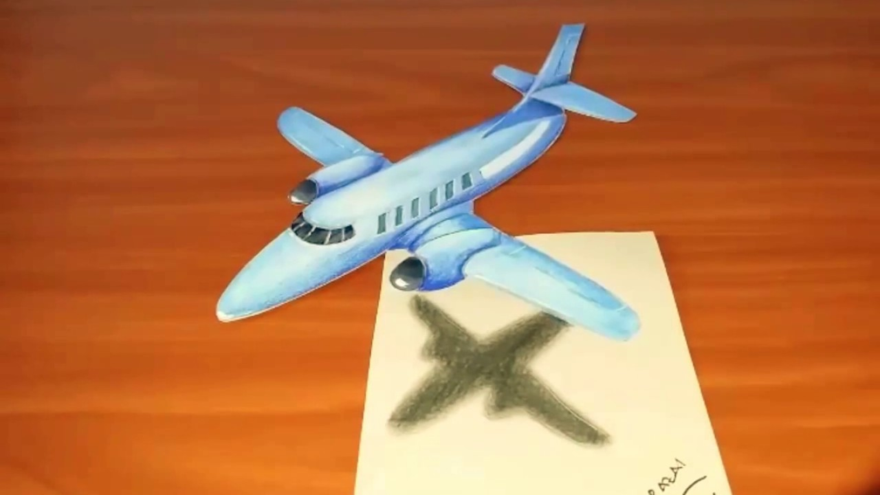 Speed Drawing 3d Illusion Airplane On Paper Dessin 3d Rapide Dun