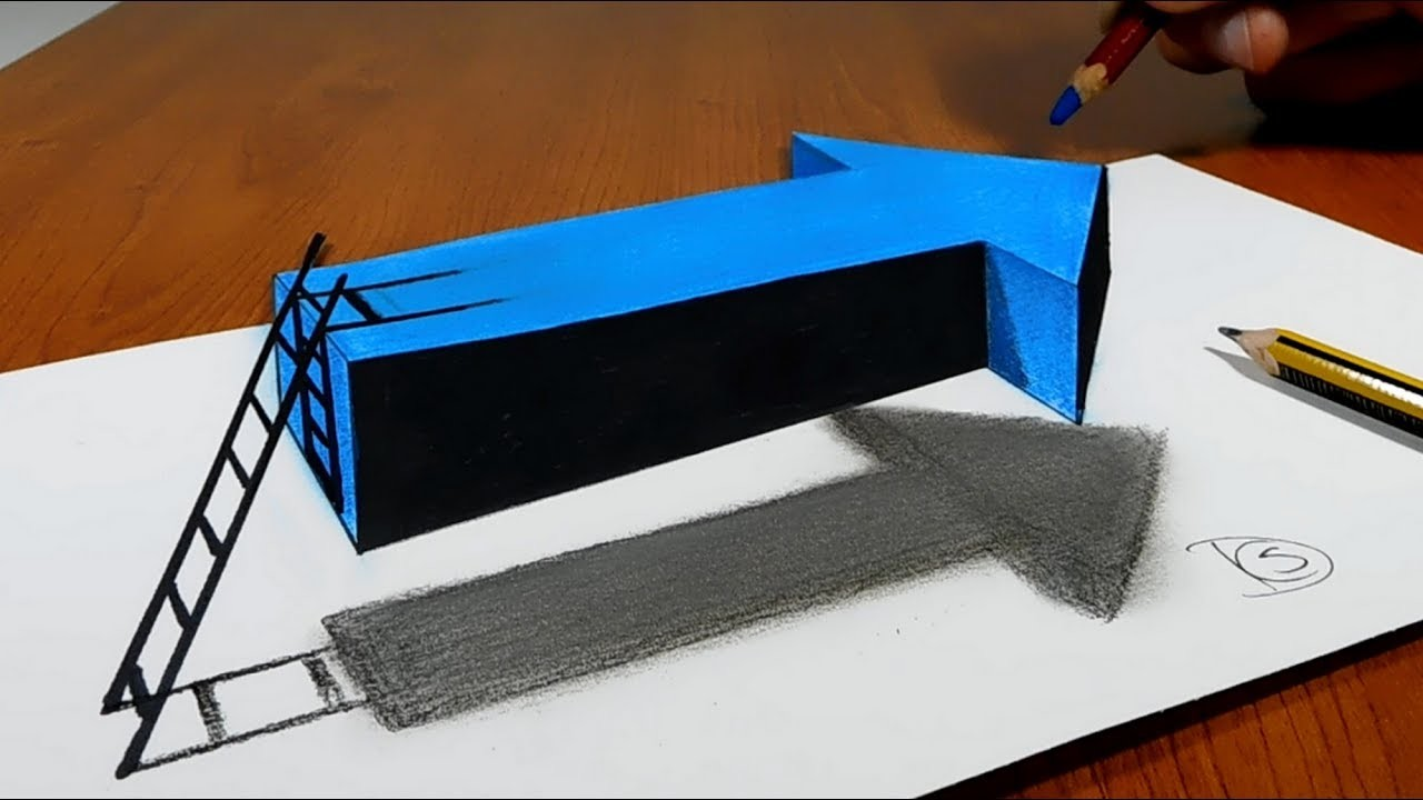 try to do 3d trick art on paper floating arrow with stairs