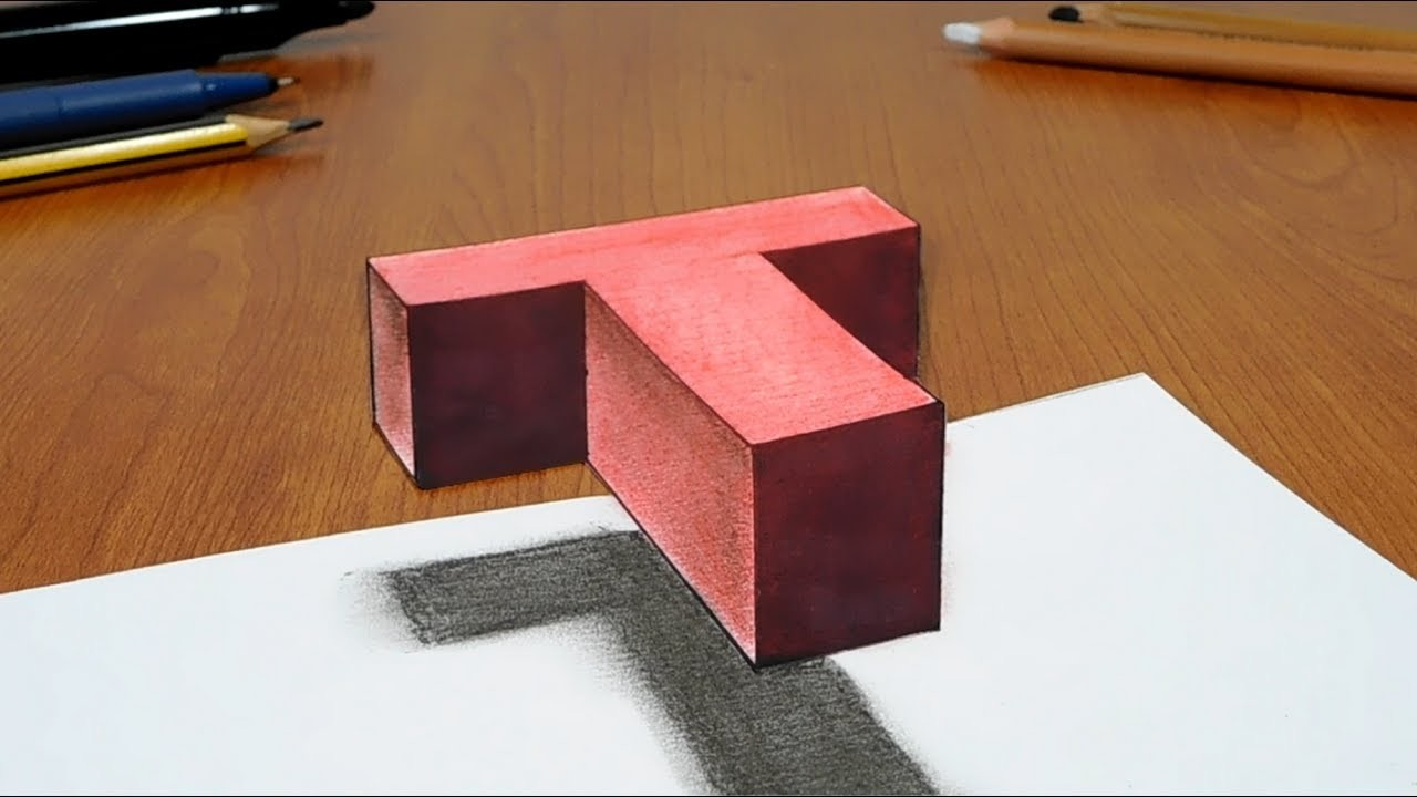 try to do 3d trick art on paper floating letter t
