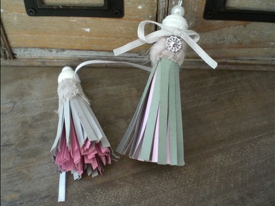 Tuto  pompon bicolore  en papier scrapbooking