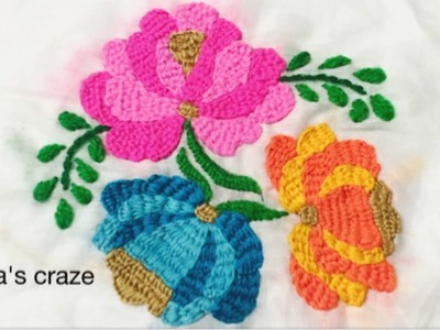 Unique flower hand embroidery with buttonhole stitch variation | Keya's craze | hand embroidery-90