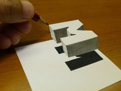 """Very Easy!! How To Drawing 3D Floating Letter """"M""""  - Anamorphic Illusion - 3D Trick Art on paper"""