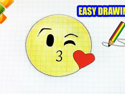Easy drawings #280 How to Draw the Kissing Emoji . drawing for kids