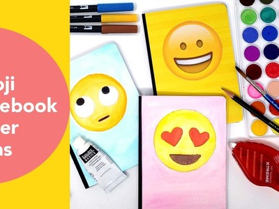 Emoji Notebook Cover Ideas, Watercoloring with Tombows, Back to School DIY