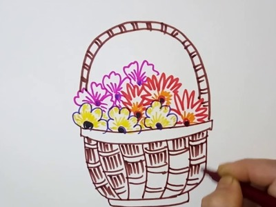 Flower Basket: How to draw a flower basket with easy steps, quick sketch