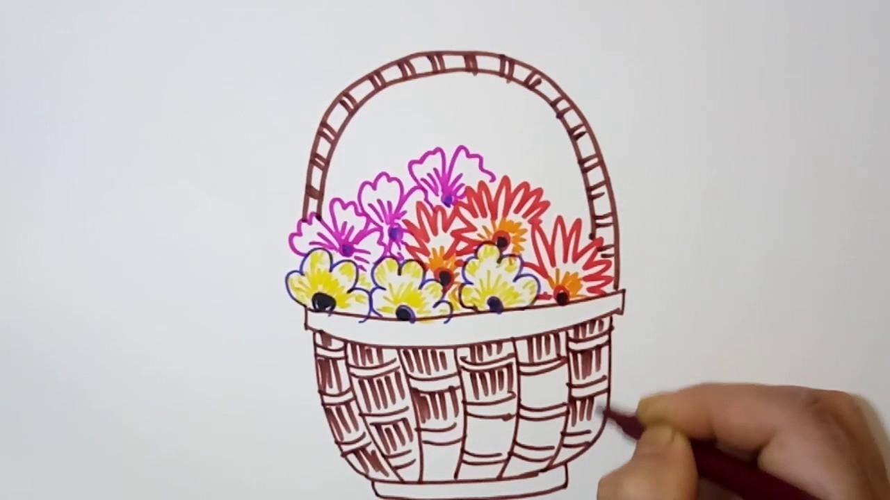 How To Draw A Flower Basket With Flowers : Flower basket how to draw a with easy steps