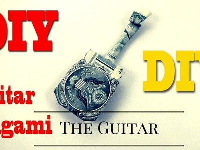 How to  Create Dollar Origami Guitar || Origami shows how to make a $1 dollar guitar