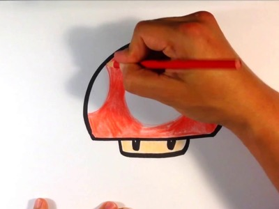 How to Draw a Mario Mushroom (red) - Easy Pictures to Draw