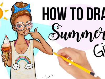 HOW to DRAW a SUMMER GIRL with ICECREAM ! ????☀️(Cute & Easy)