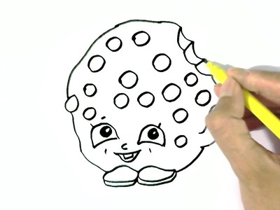 How to draw Kooky Cookie. -Shopkins  in easy steps for children. beginners