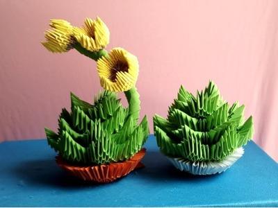How to make origami 3d Succulent - Làm cây sen đá origami 3d