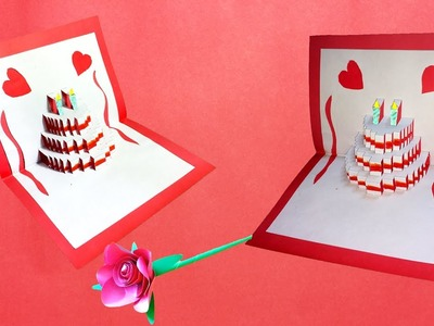 Origami Pop-Up Birthday Cake Made by Paper | 3D Pop-Up Birthday Cake Card