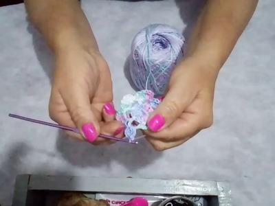 Denise croche. ensinando a fszer flor Rosa
