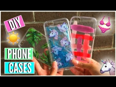 DIY CHEAP SUMMER PHONE CASES l Liquid Unicorn Case, Palm Leaves and MORE l Crafting On a Budget