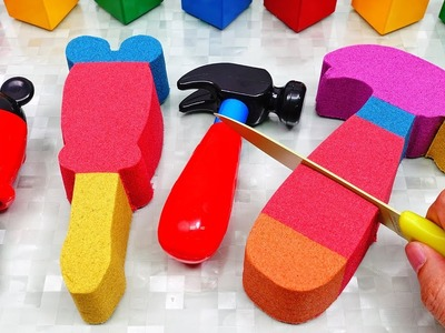 DIY How to make Kinetic Sand Cake Mickey Mouse Toolset Mad Mattr Learn Colors