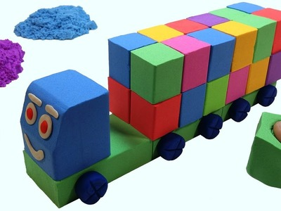DIY How To Make Kinetic Sand Container Truck Cars For Kids - Learn Colors Cars For Children