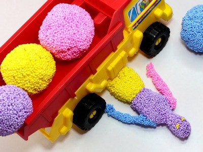 DIY How to Make Play Foam Rainbow Mini Human VS Dump Truck Kinetic Sand Cube Tayo Surprise Toys