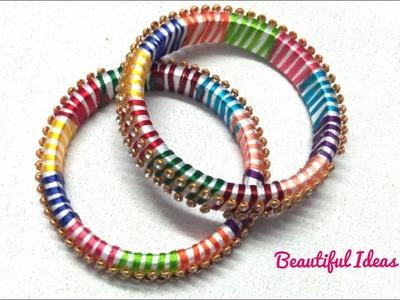 DIY.How to Make Silk thread Multi Color Bangles.Silk thread Multi Color Designer Bangles Making .
