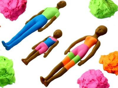DIY Kinetic Sand Human Family | How to Make Kinetic Sand Daddy, Mommy & Kid Learn Colors for Kids