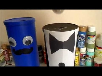 DIY. PIGGY BANK. COIN BANK OUT OF PRINGLES . HAPPY CRAFTING 123