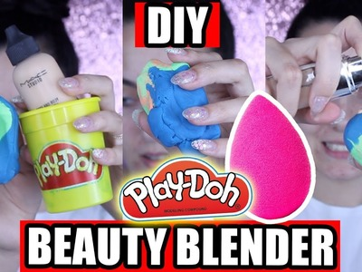 DIY PLAY-DOH BEAUTY BLENDER !? DOES IT WORK?!?!