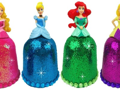 DIY Play Doh Sparkle Disney Princess Dresses Frozen Elsa Ariel Magiclip Super Glitter Play Doh Dress