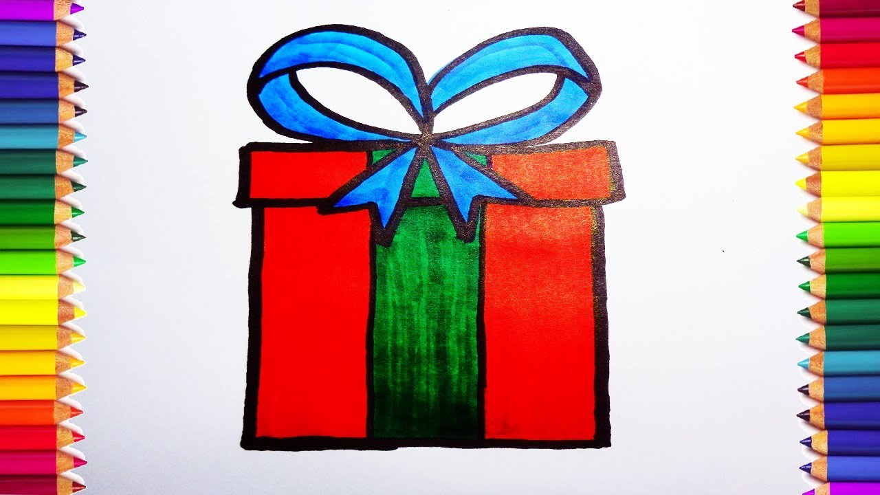 How To Draw A Christmas Gift Box Step By Step Draw A Gift Box For