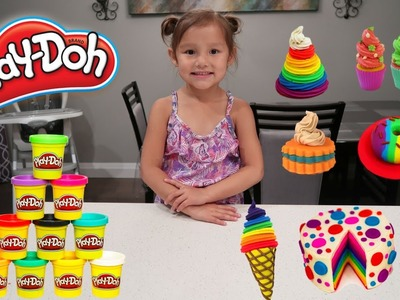 Play Doh Delightful Desserts Playset Toys For Kids! Pretend Play Food DIY Toy Review