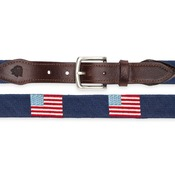 Traditional American Flag Needlepoint Belt on Navy
