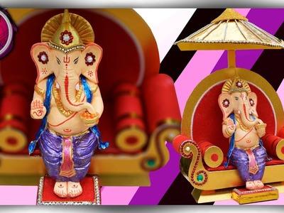Clay Ganesha Making | Clay Craft | DIY Singhasan making | Ganesh Churthi | Art with Creativity 257