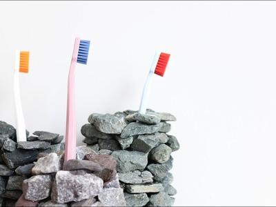 DIY Gravel Toothbrush Holder
