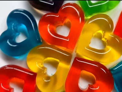 DIY How To Make Colors Jelly hearts Learn Colors, Rainbow Colors Heart Jelly