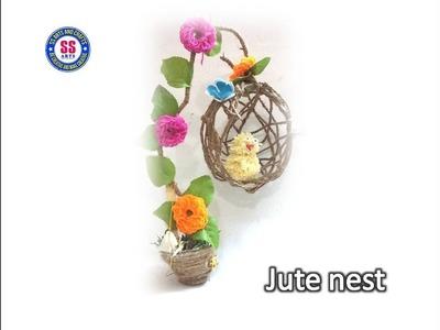 DIY Room decor. Balloon and jute craft nest. jute crafts