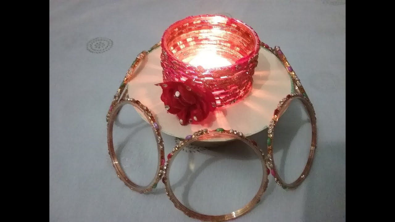 Diy Waste Bangles Craft Ideas For Diwali Hand Made Home Decor 2 In 1 Ideas From Best Out Of Waste
