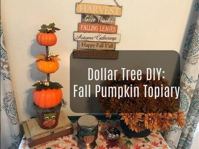 Dollar Tree Fall Pumpkin Topiary Decor-  Coffee Table Craft