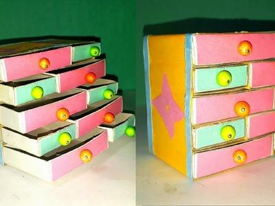 Handmade matchbox craft.easy jewelry box making from waste match box.how to make DIY jewelry box.