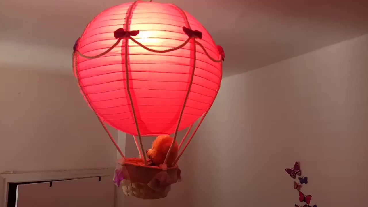 hot air balloon lamp light shade pink teddy bear handmade