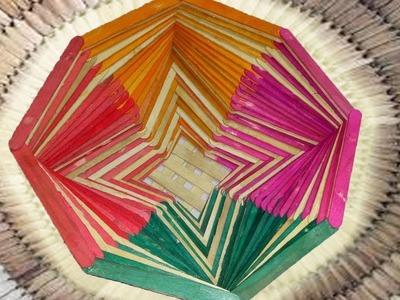 How Make a Popsicle Stick Flower Basket || Popsicle Stick Craft || Ice Cream Stick Craft